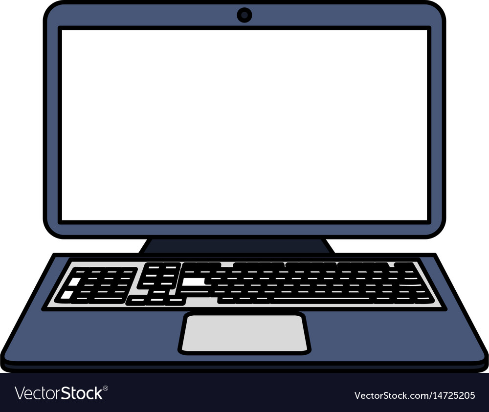 Color Image Cartoon Laptop Computer With Keyboard Vector Image
