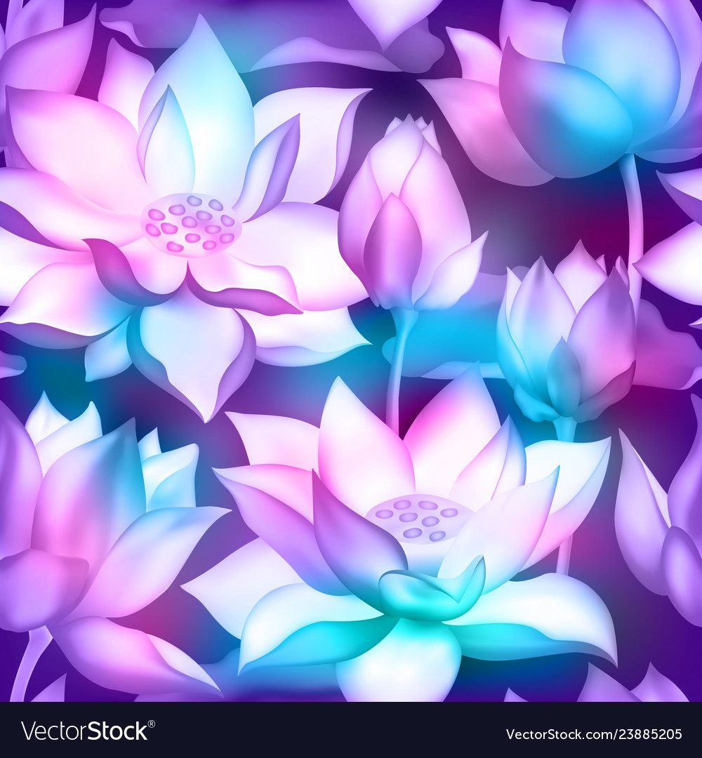 Lotus Flower Bouquets With Buds Seamless Pattern Vector Image