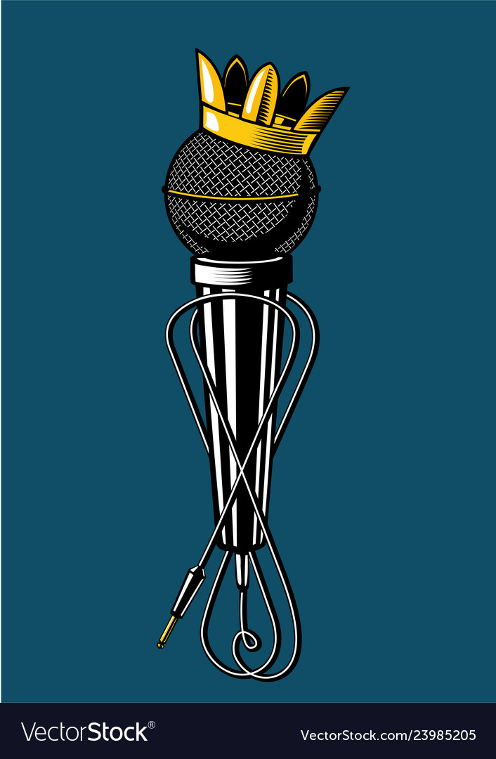 Microphone with kings crown vintage music poster