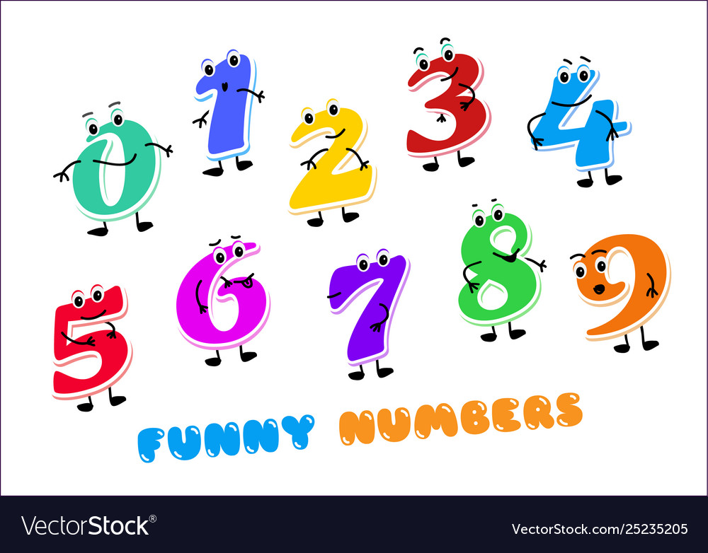 Set funny cartoon numbers characters kids