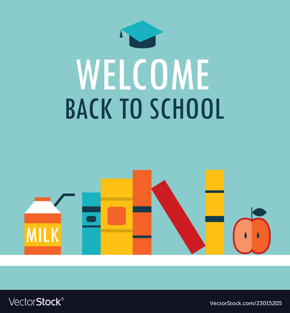 Welcome Back To School Background Book Shelf With Vector Image