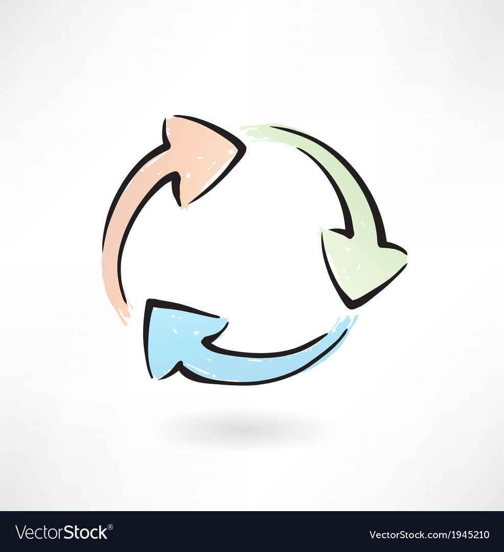 Arrows cycle grunge icon vector image