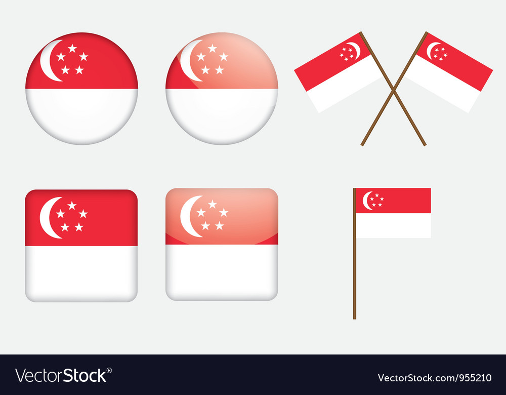 Badges with flag of Singapore