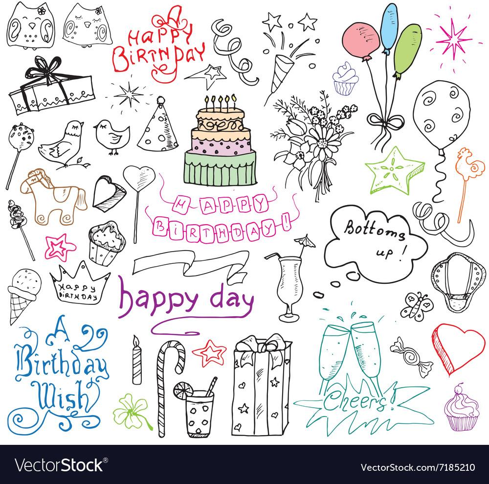 Birthday elements Hand drawn set with birthday
