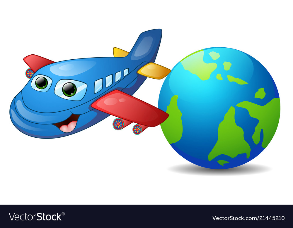 Cartoon blue airplane character