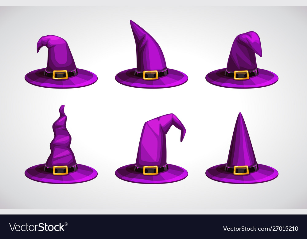 Cartoon witch hat colorful icons set halloween