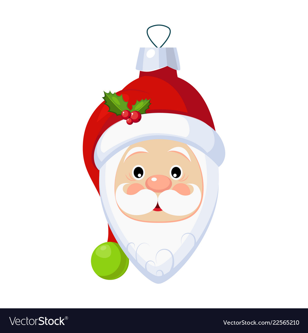 Christmas toy santa claus head greeting card with