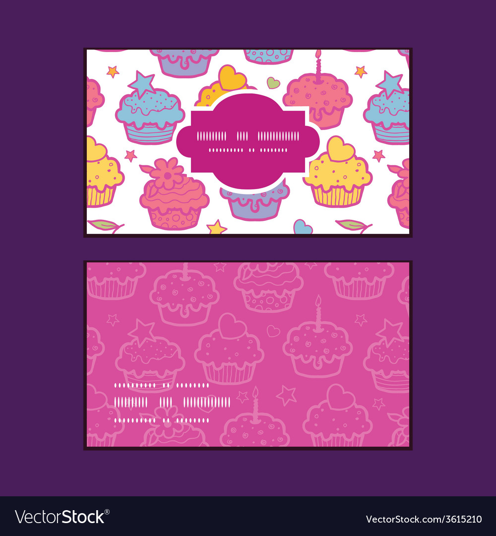 Colorful cupcake party horizontal frame pattern