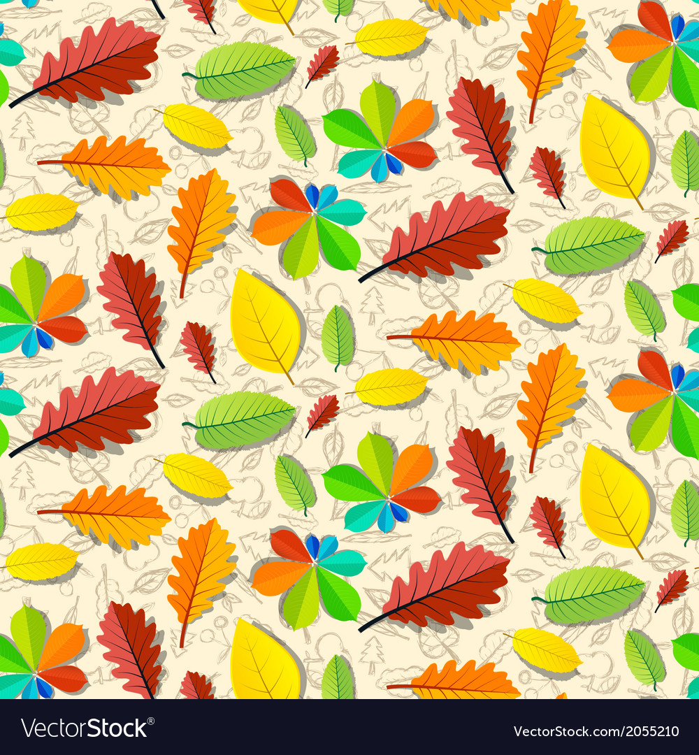 Colorful Seamless Leaves Pattern with Hand Drawn