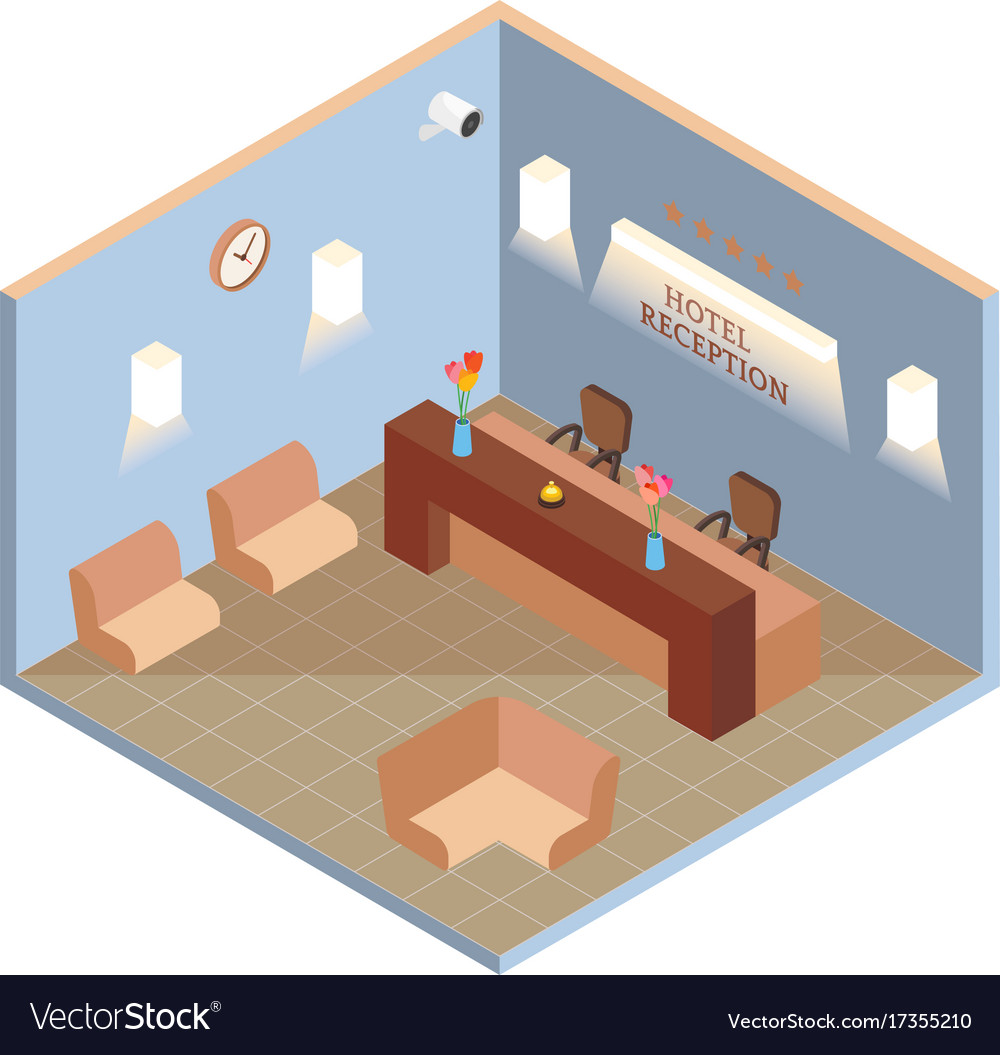 Hotel reception interior in isometric style