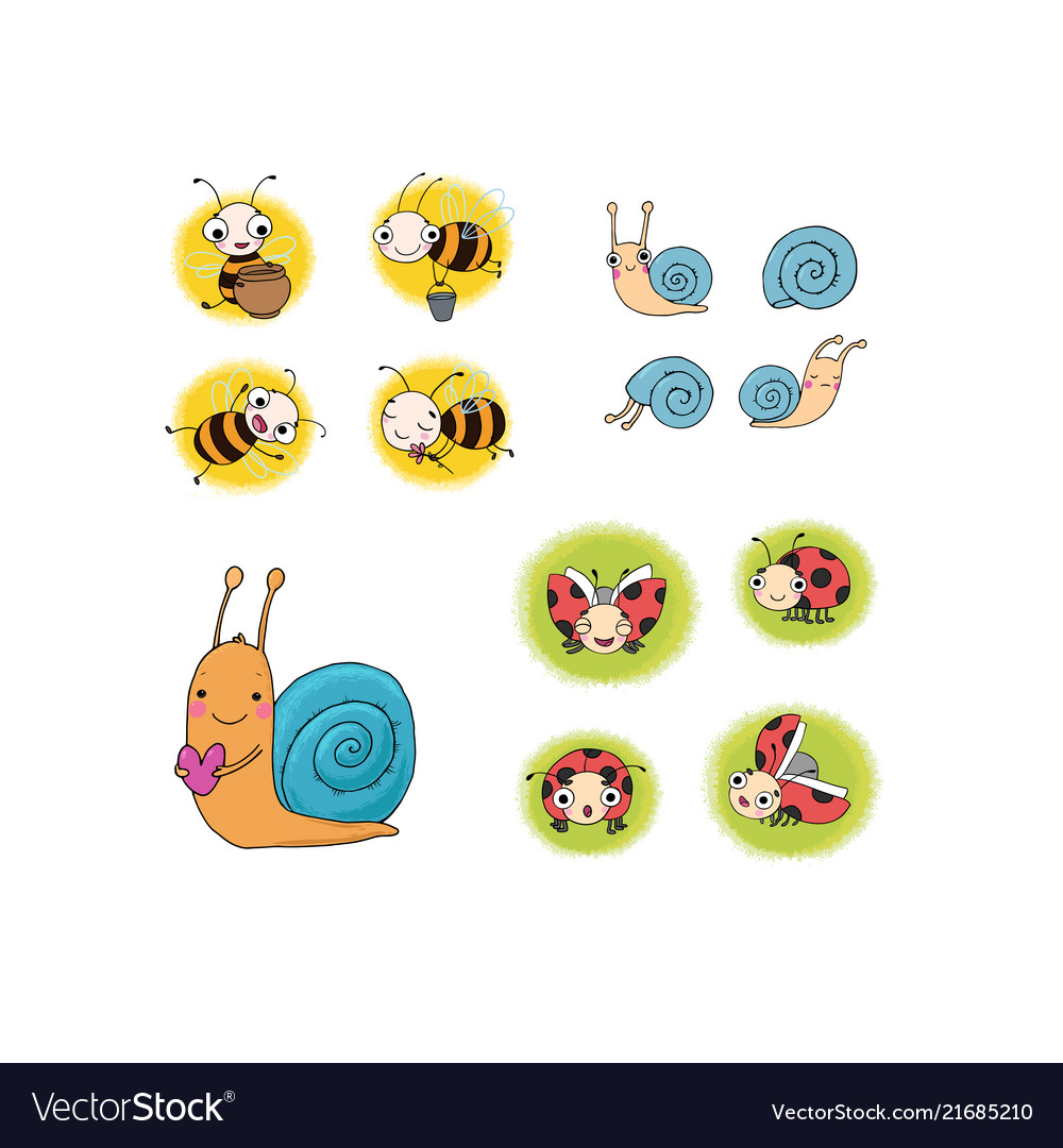 Set with insects lovely cartoon bees snails and