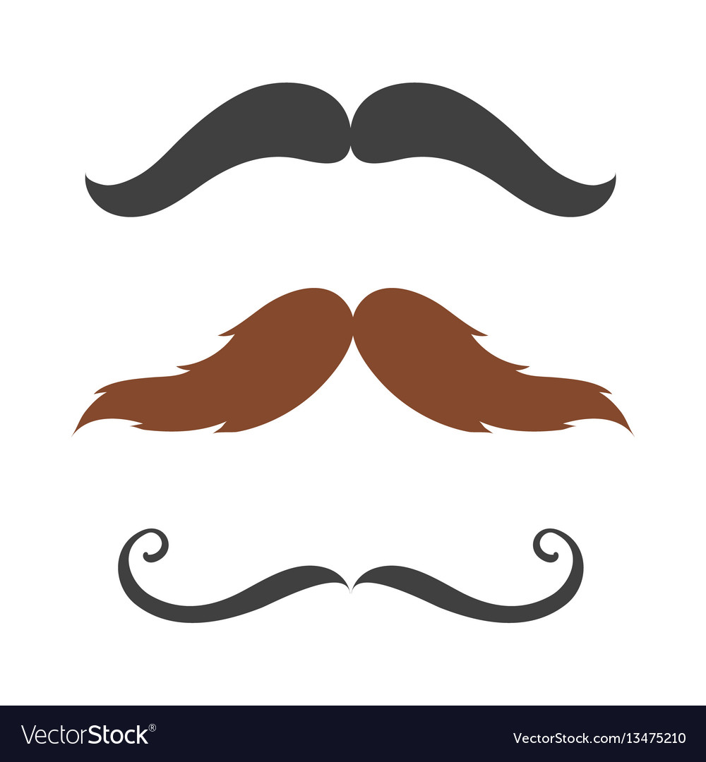 Silhouette mustache hair hipster curly