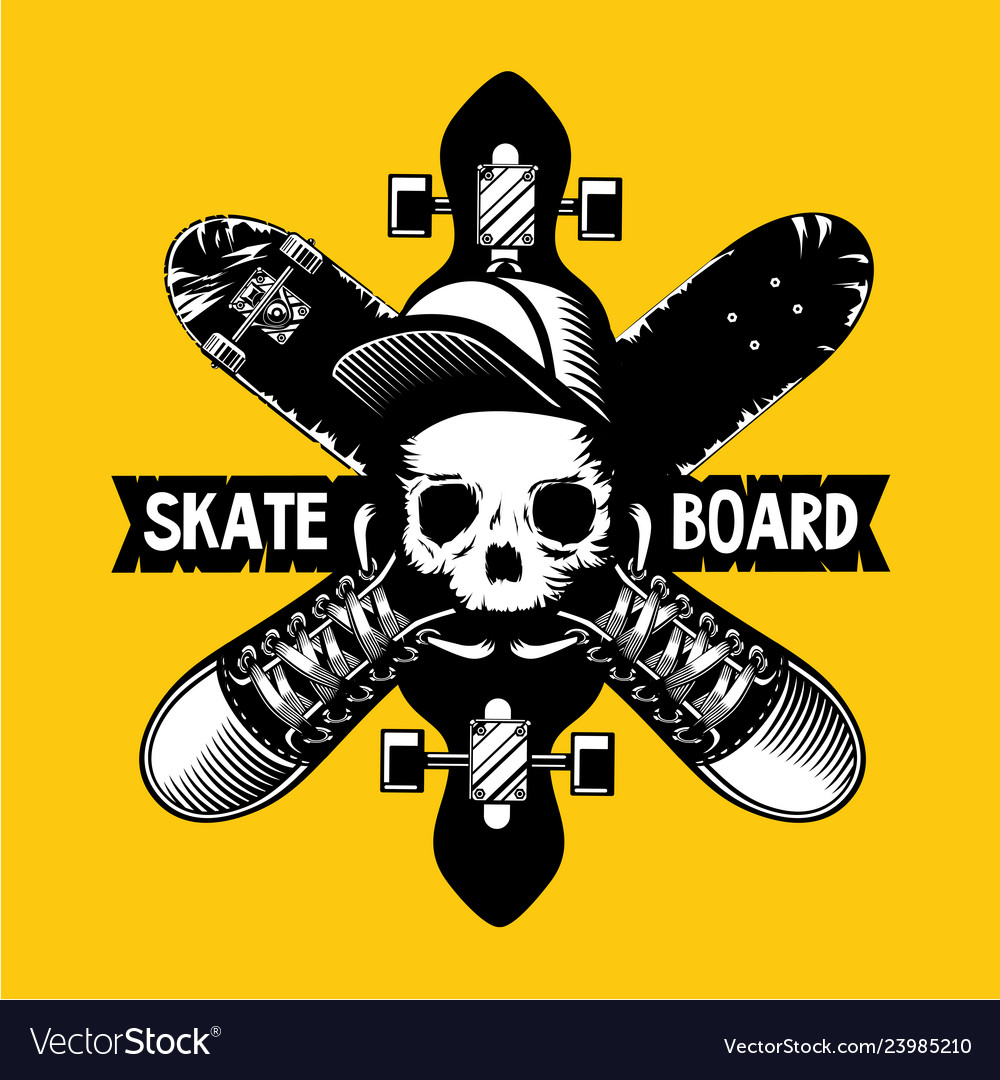 Skateboard emblem with skull and boards