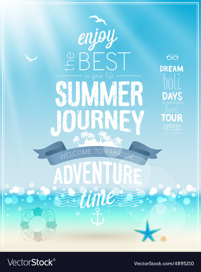 Summer Journey poster with tropical background