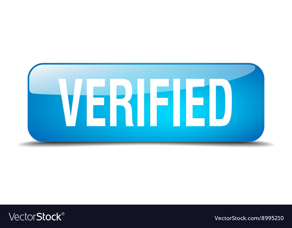 Verified blue square 3d realistic isolated web vector image