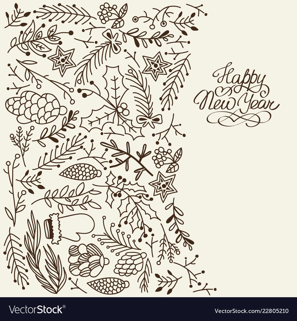 Winter natural sketch template