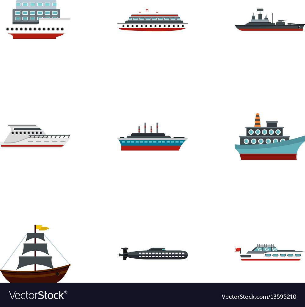 Yacht and boat icons set flat style