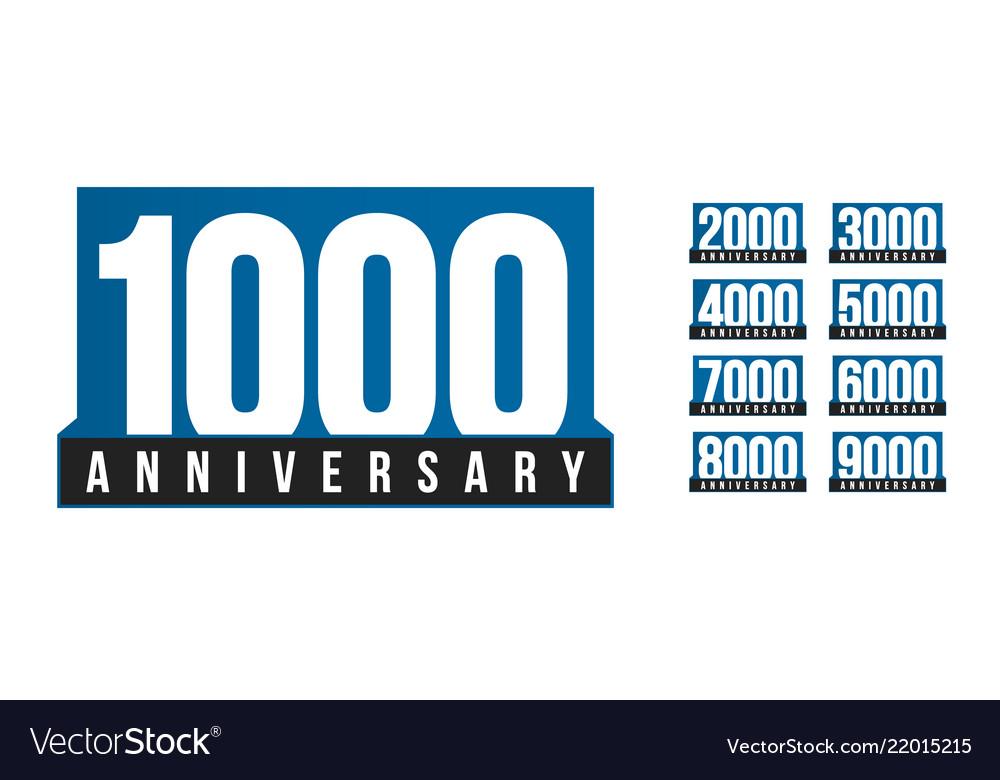 Anniversary icons set birthday logo