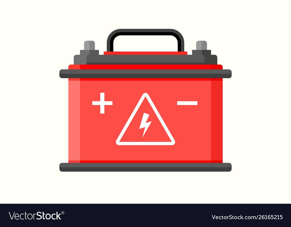 Car battery flat icon electric accumulator
