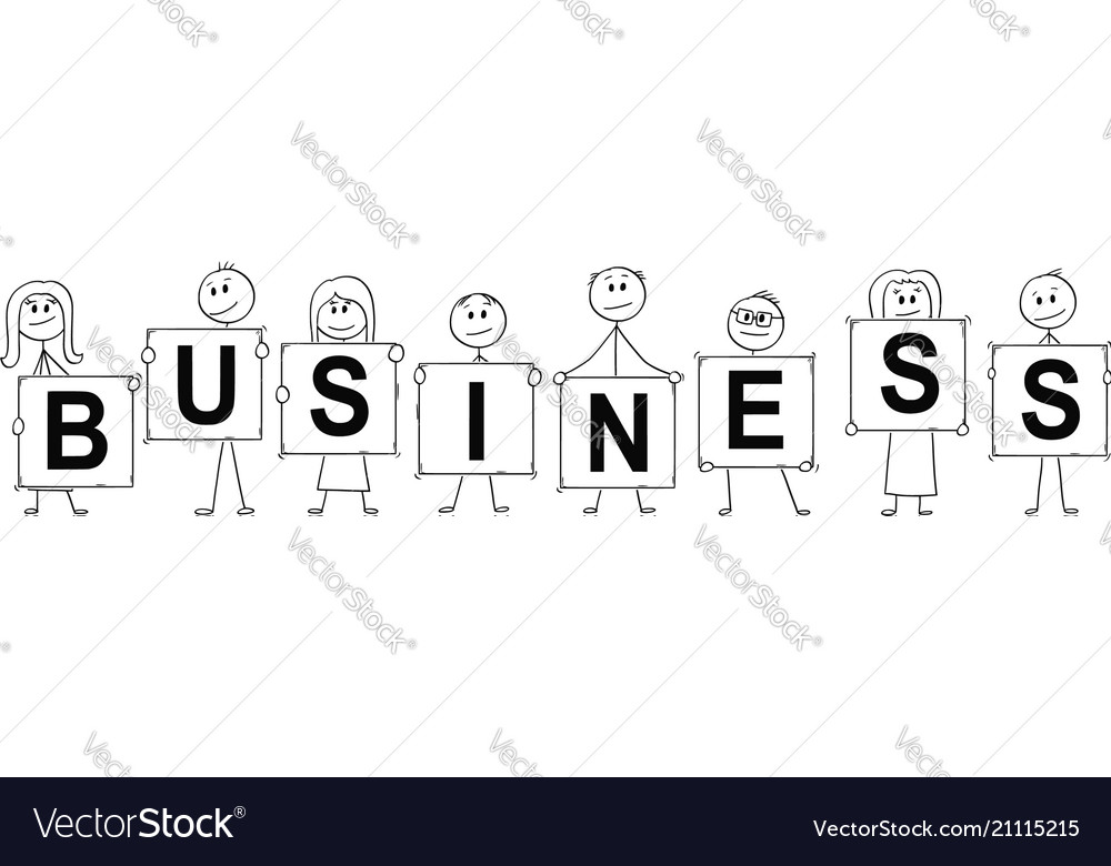 Cartoon of businessmen and businesswomen holding