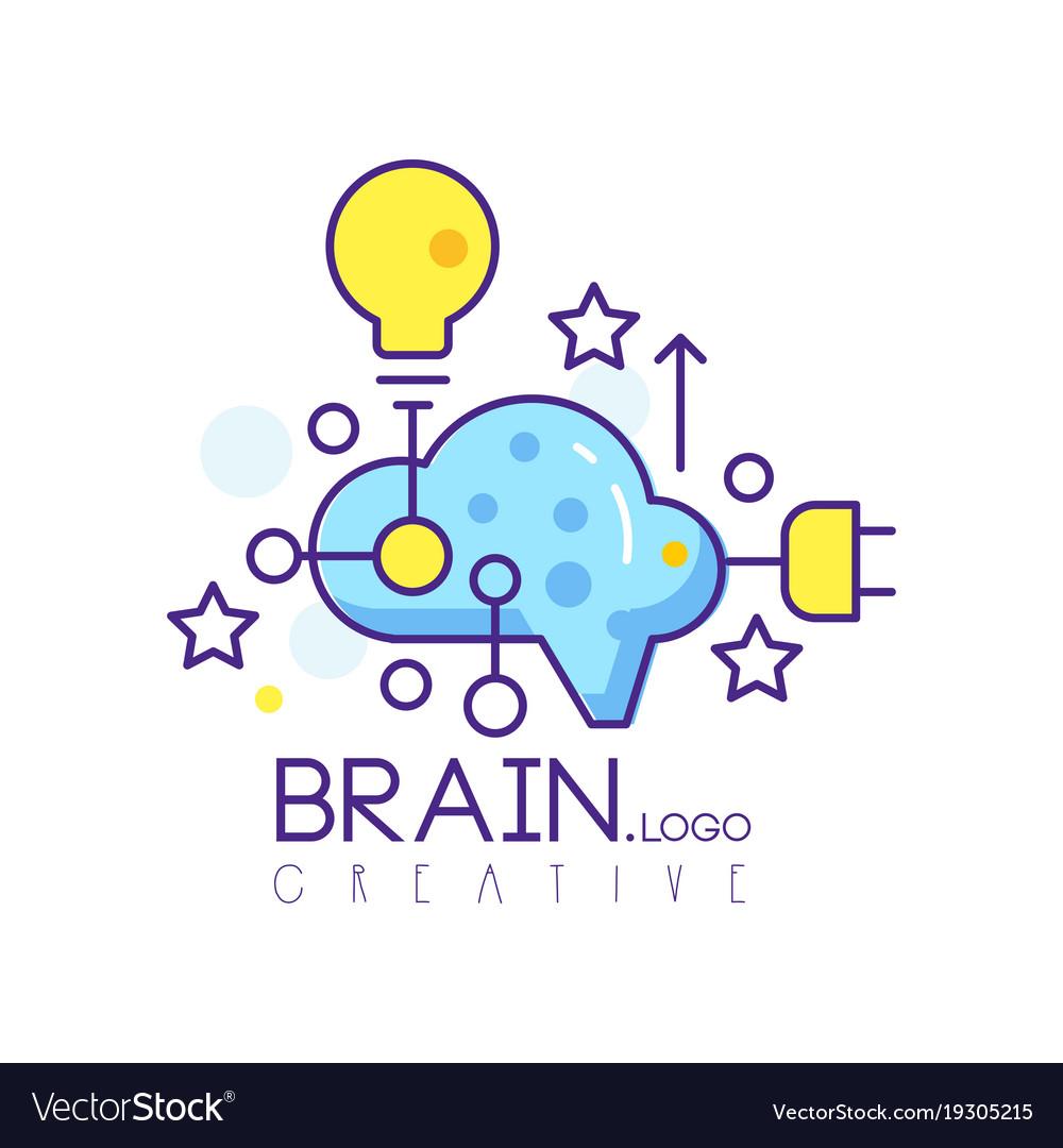 Colorful line art logo design with cloud light