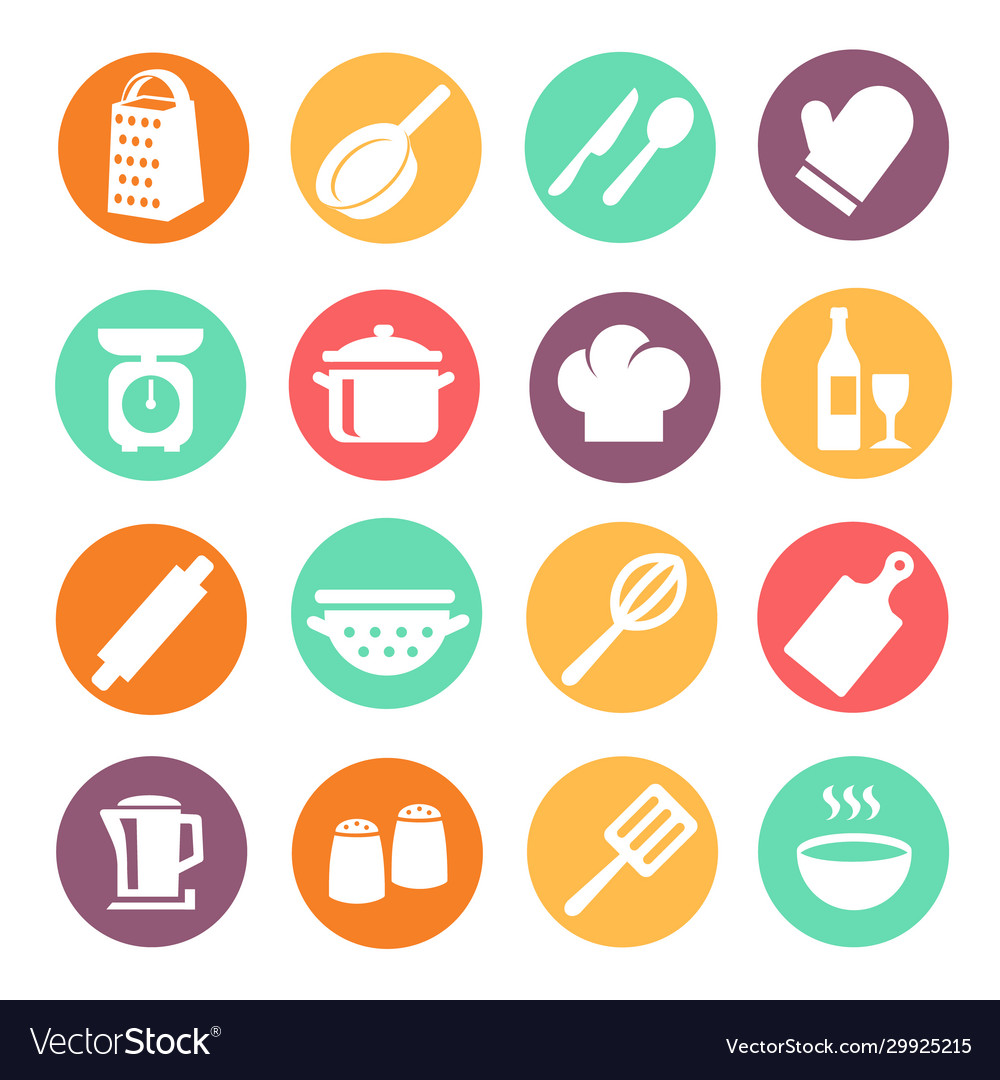 Cooking icon set kitchen tools equipment