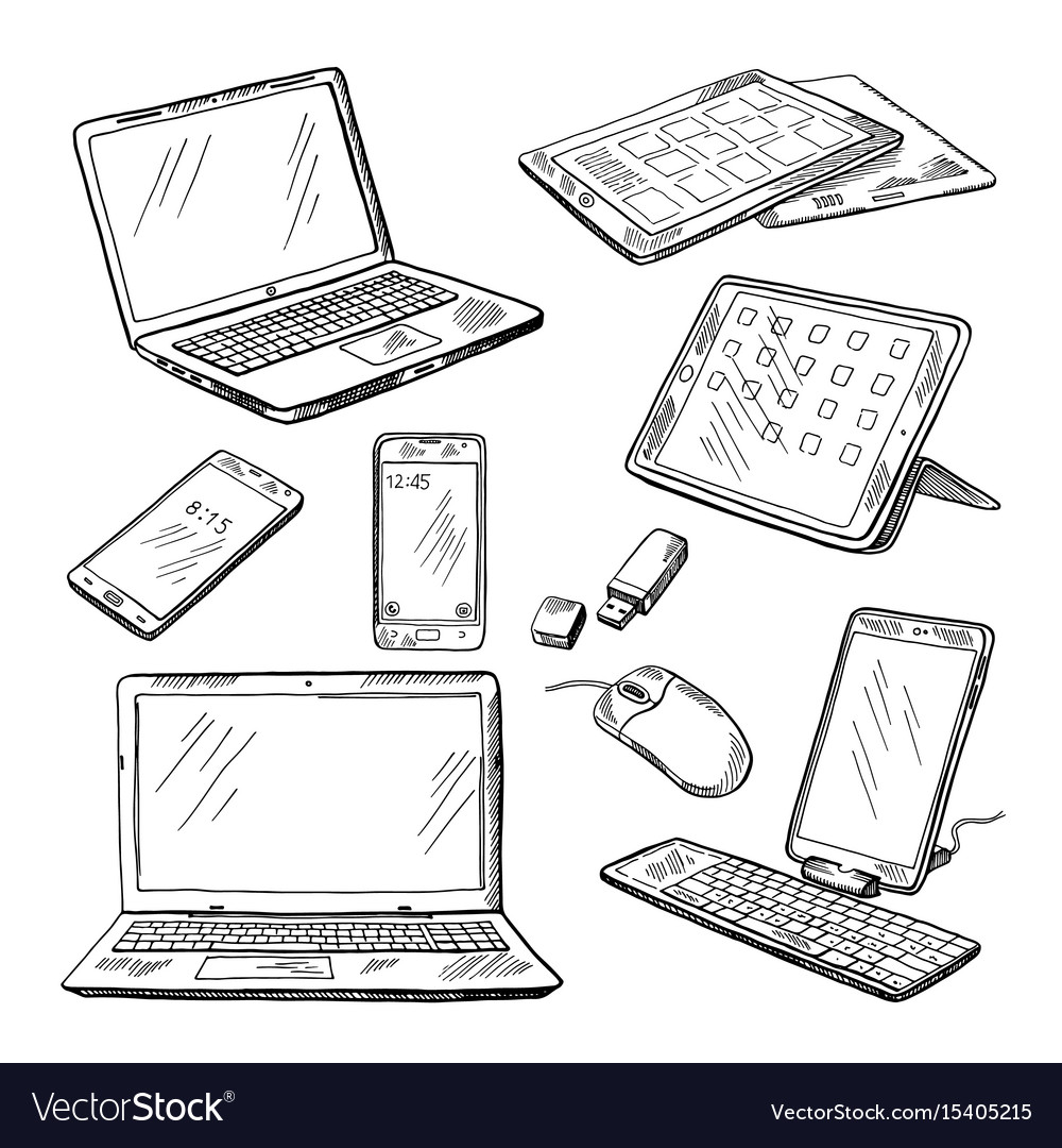 Doodle of different devices laptop