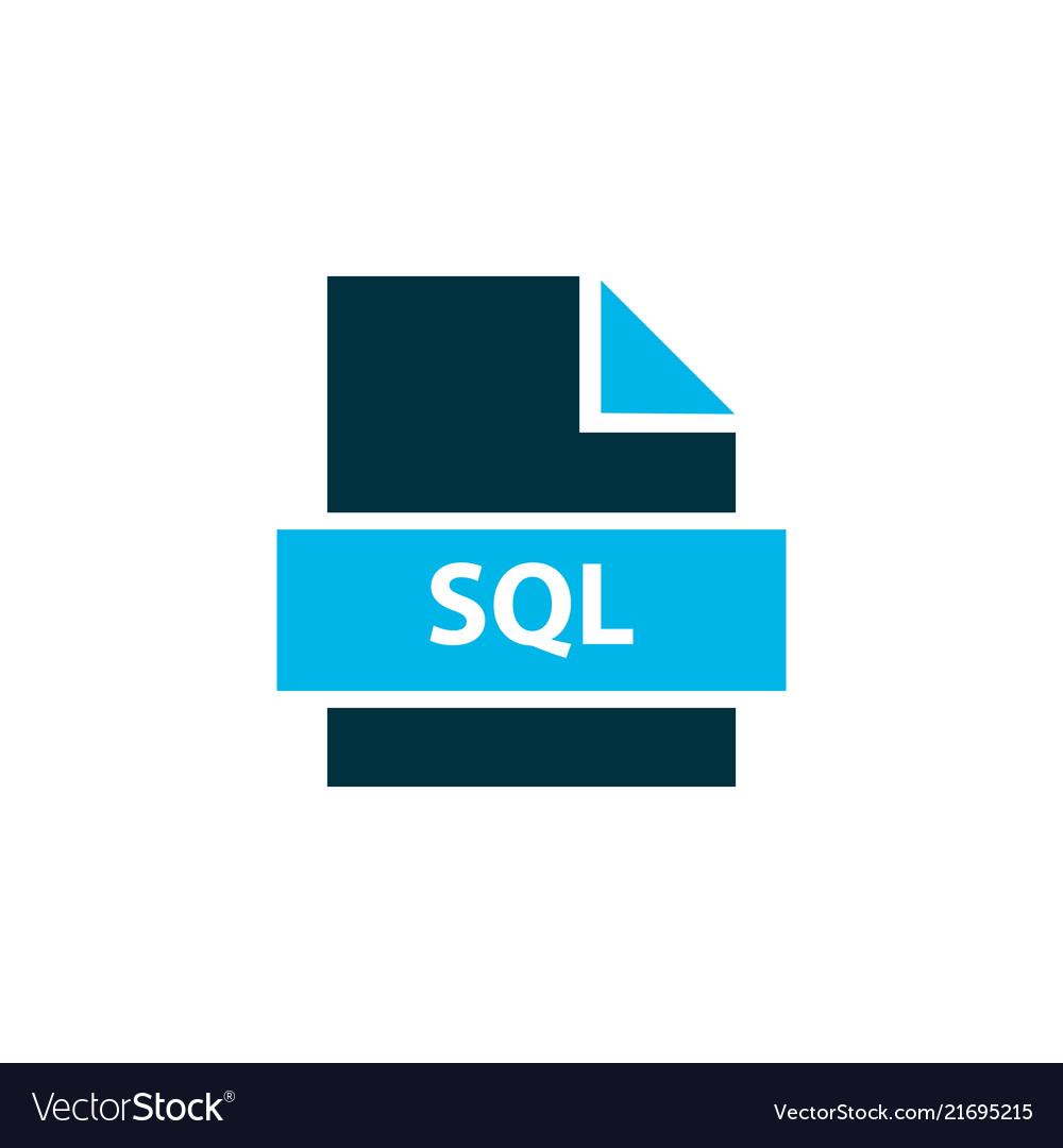 File Sql Icon Colored Symbol Premium Quality Vector Image