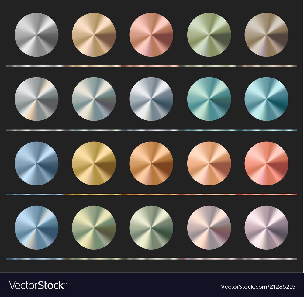 Gradients set template metallic texture radial