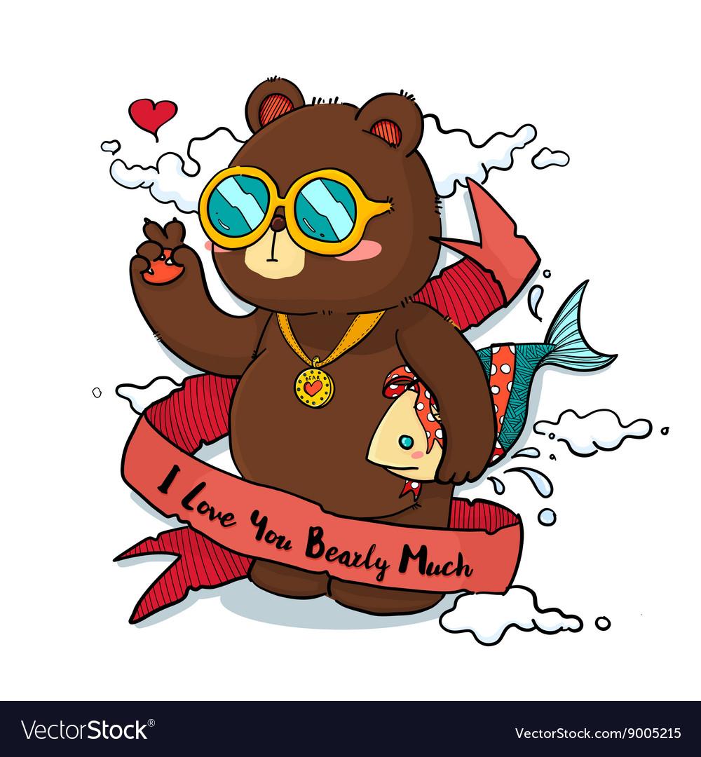 Hand drawn Cool Bear with Ribbon Greeting Card
