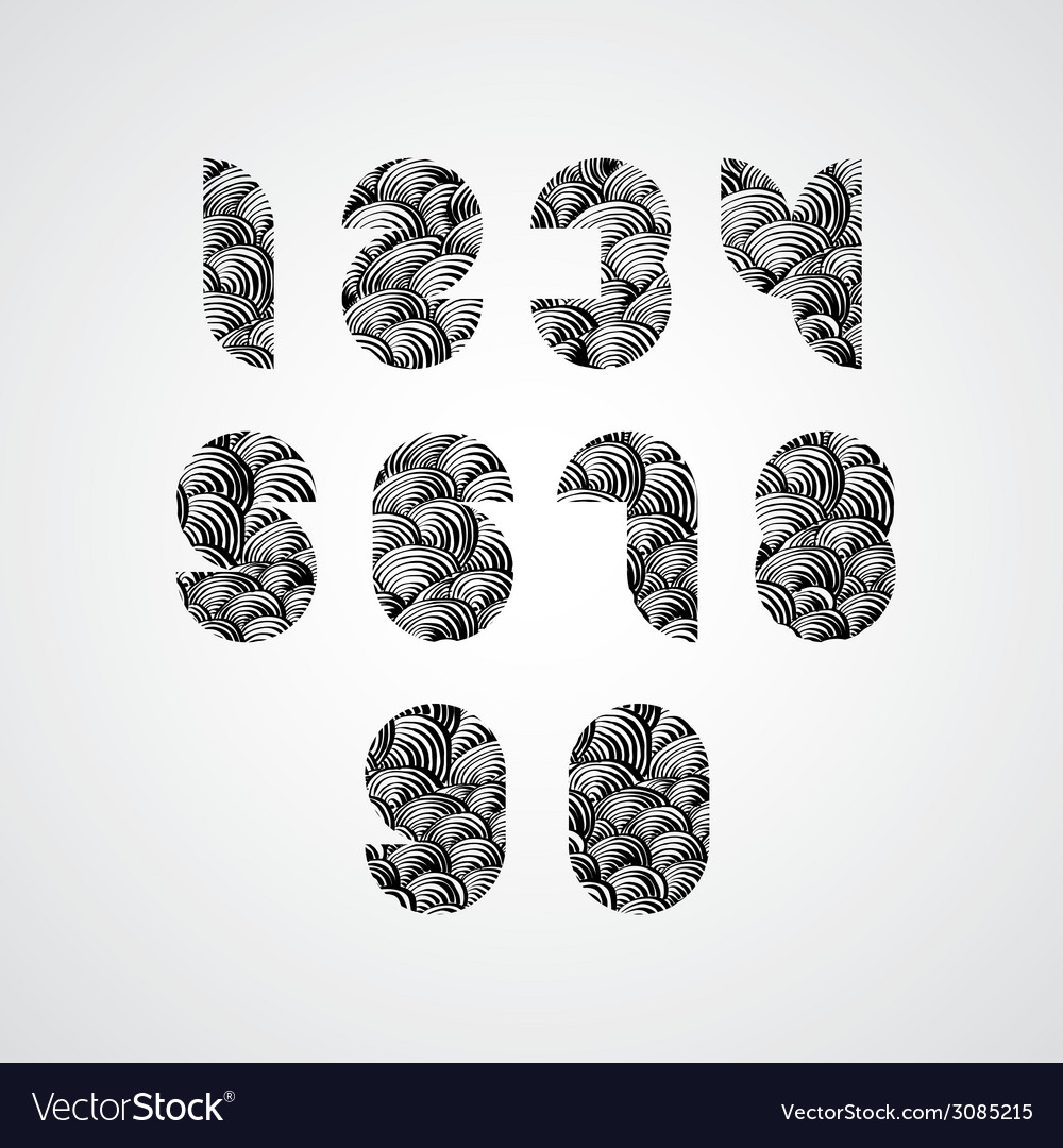 Modern simple shape stylized numbers vector image