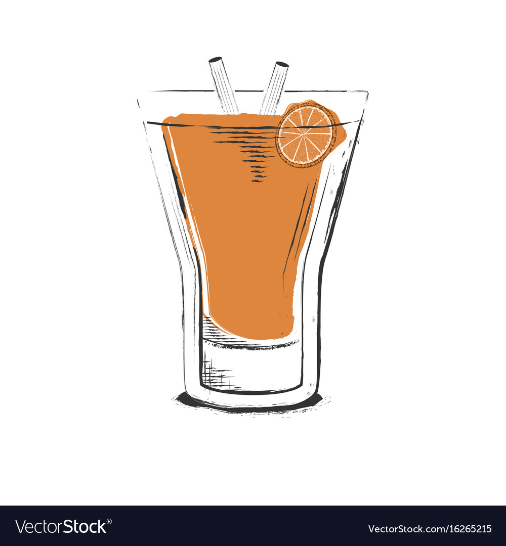 Orange cocktail hand drawn in sketch retro style