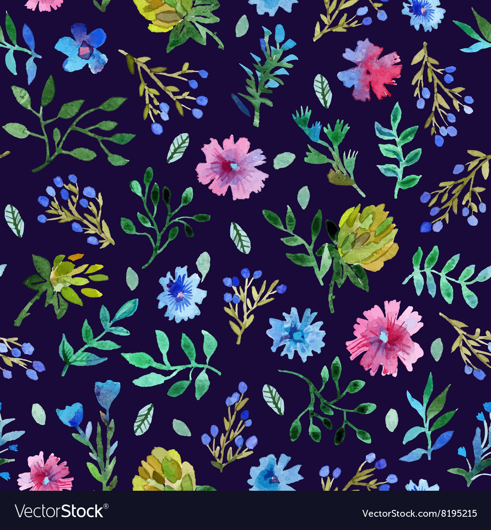 Seamless pattern with Beautiful flowers and leaves