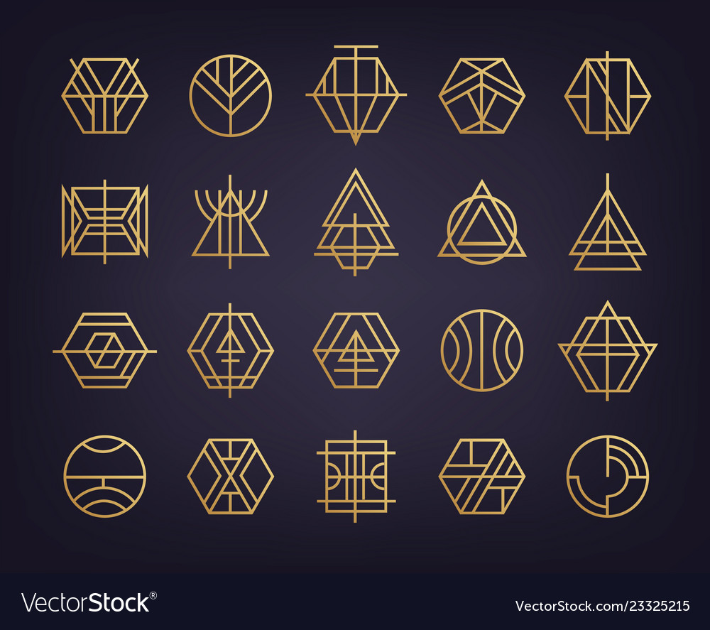 Set of abstract geometric logos art deco
