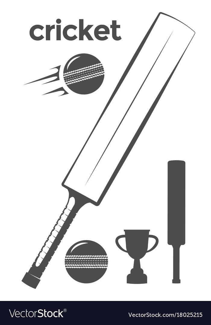 Set of cricket design elements