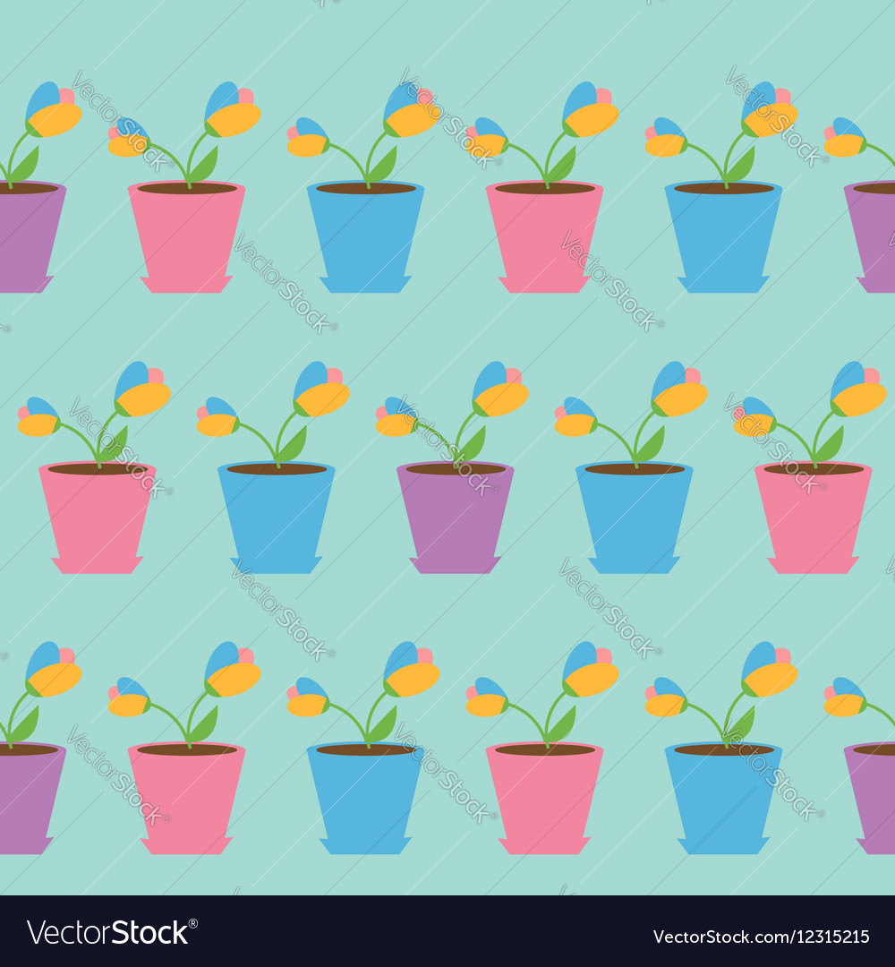 Tulip flower set in pot Seamless Pattern Wrapping