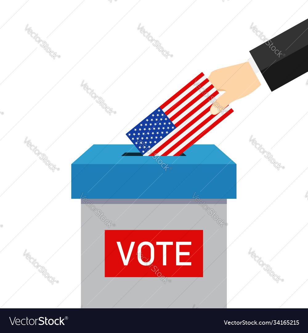 Vote 2020 in usa paper ballot and box