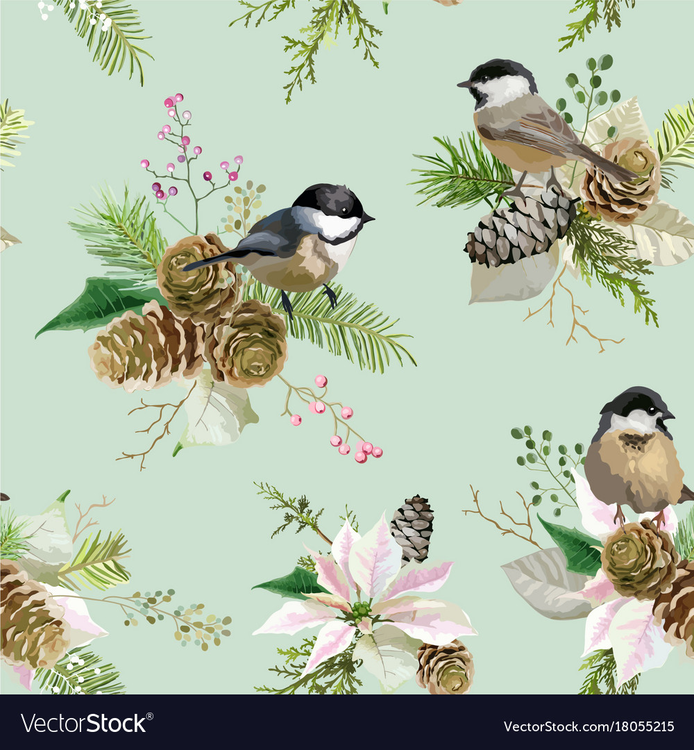 Winter christmas birds seamless background
