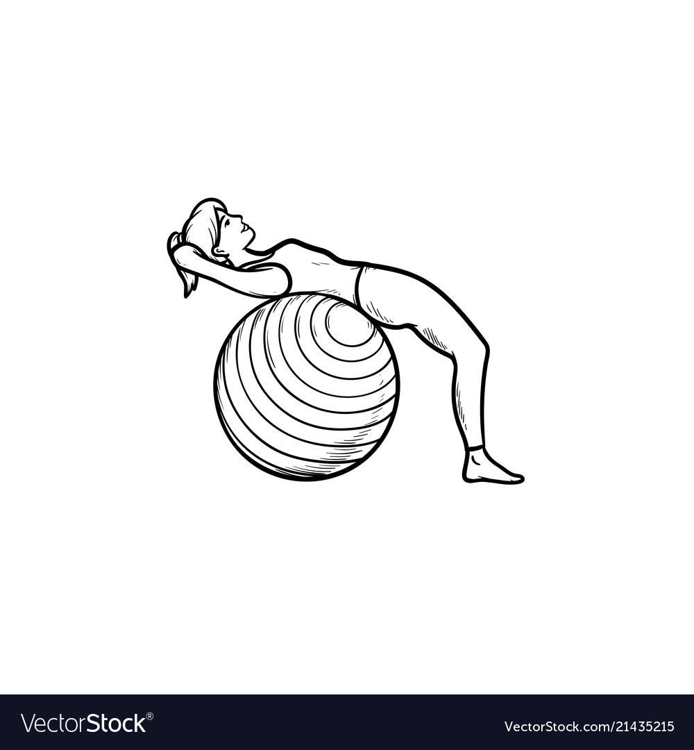 Woman doing pilates exercises hand drawn outline