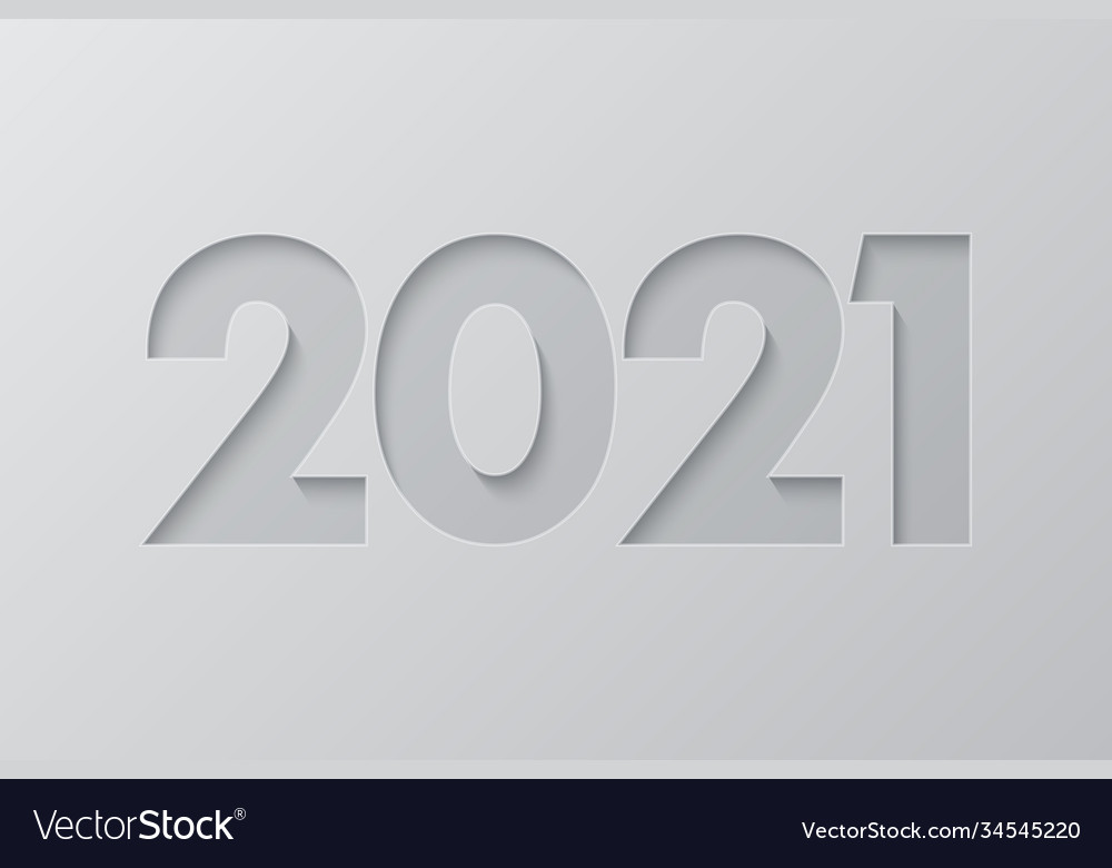 2021 new year background in cut paper style