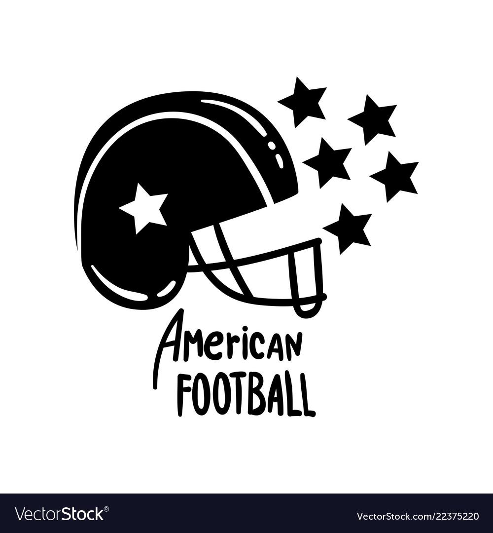 American football helmet retro design element for