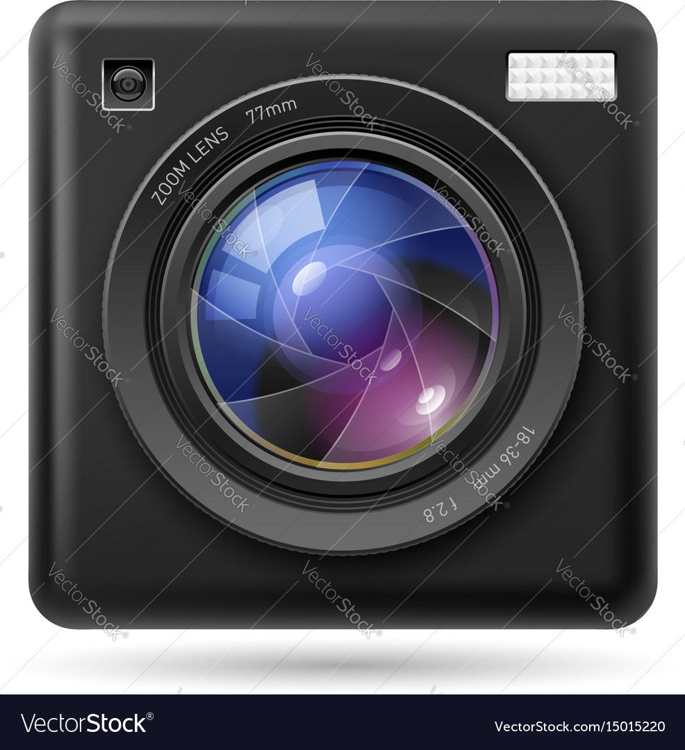 Black camera icon lens on white background
