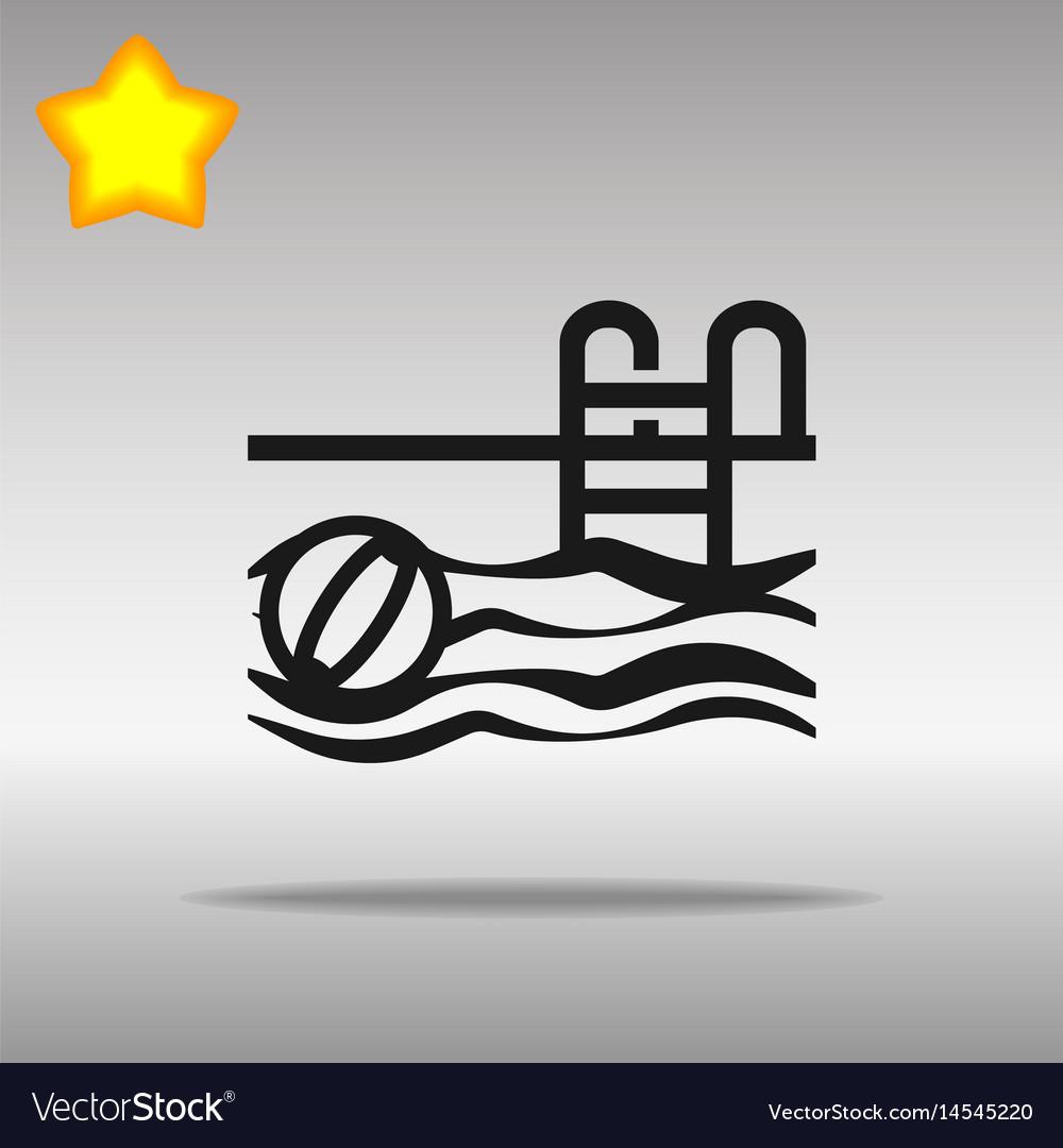 Black swimming pool icon button logo symbol