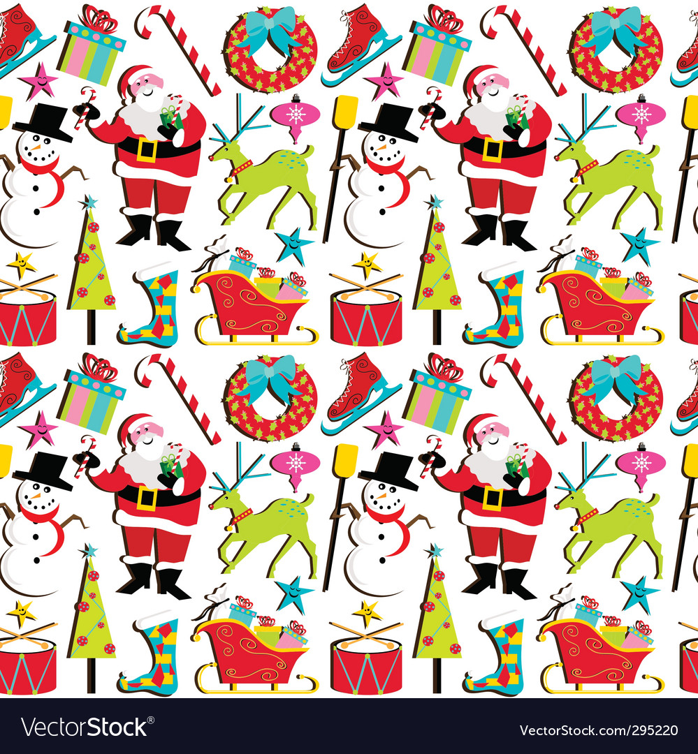 Christmas retro wallpaper vector image