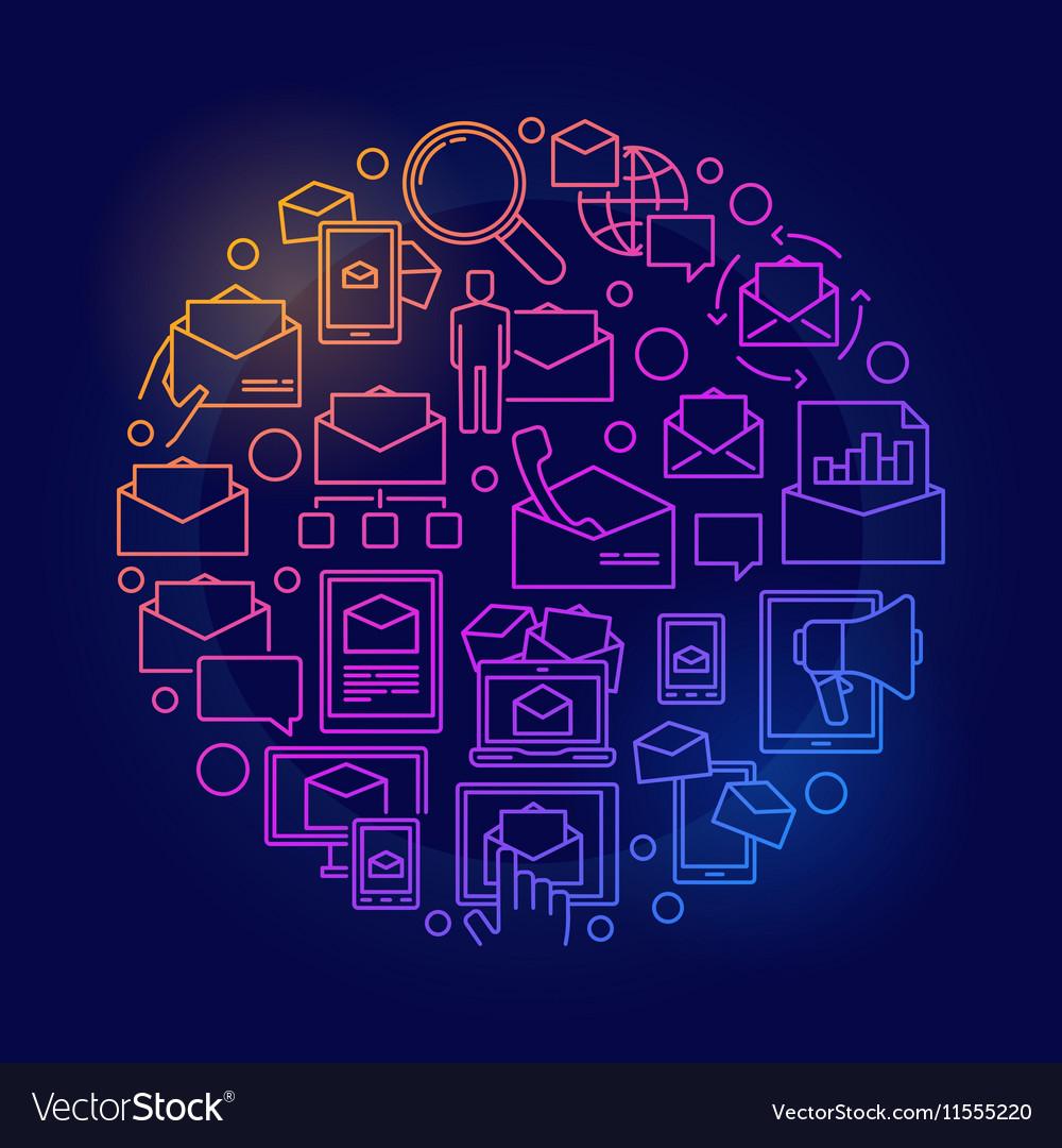 E-mail circular colorful symbol
