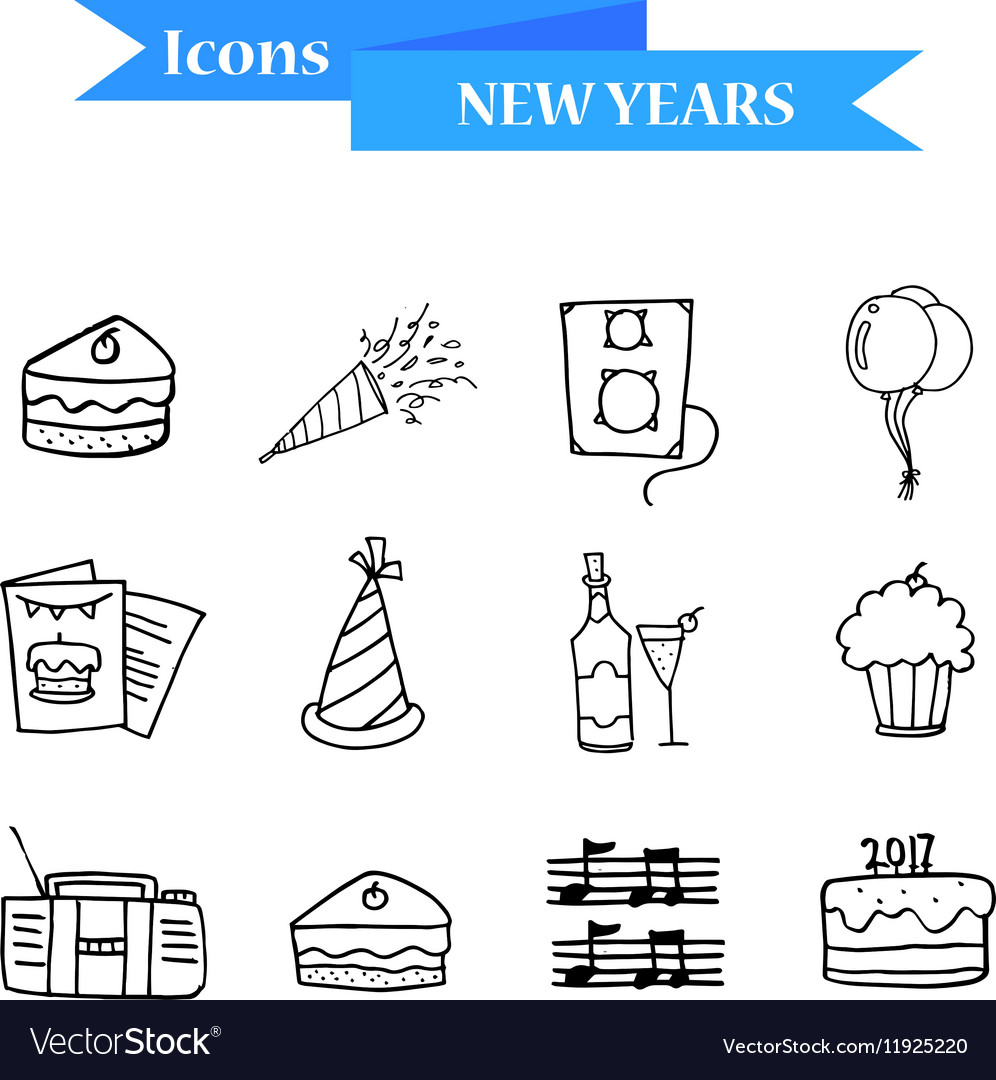 Hand draw of object New Year icons