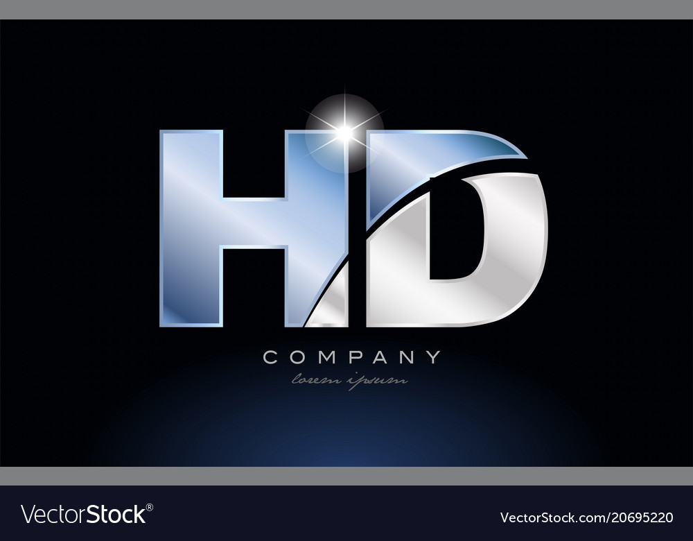 Metal blue alphabet letter hd h d logo company vector image thecheapjerseys Images