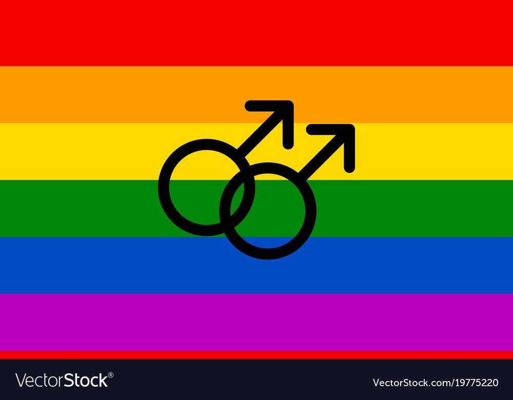 Rainbow Flag Movement Lgbt Men Symbol Flat Icon Vector Image