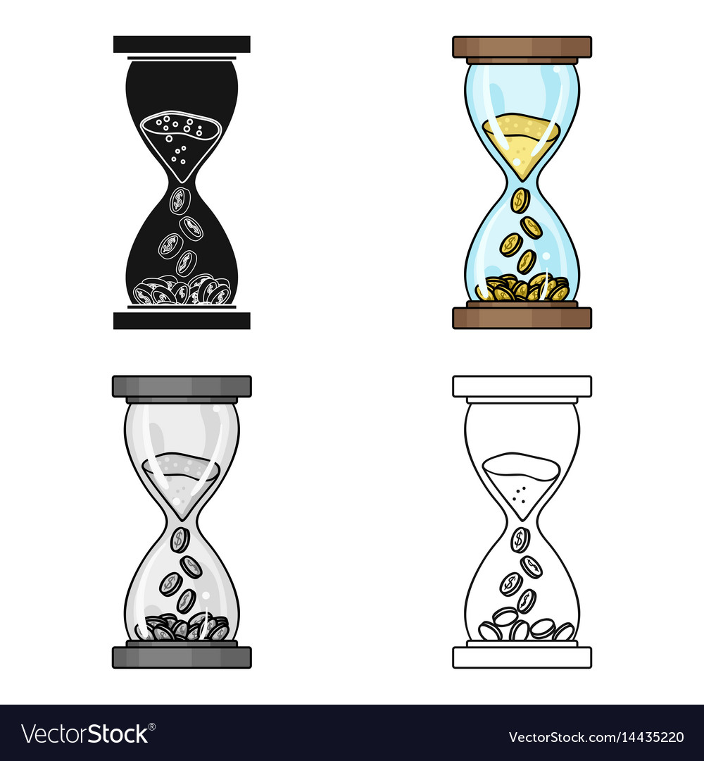 Time is money icon in cartoon style isolated on