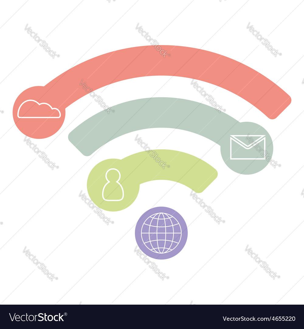 Wifi flat icon infographic concept blue design